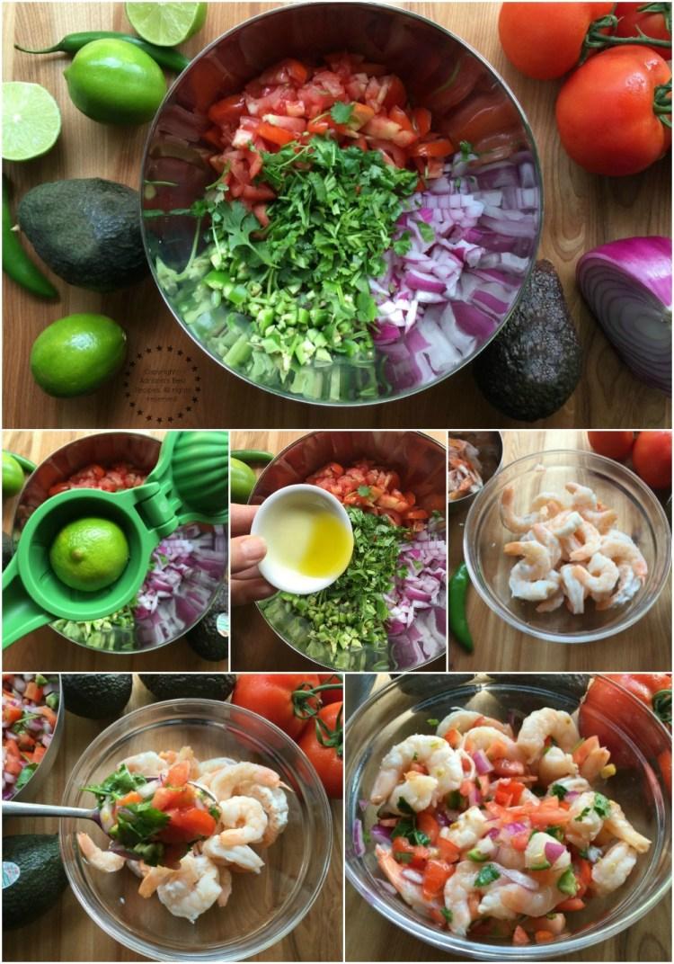 Preparando la salsa pico de gallo para la ensalada de camarón