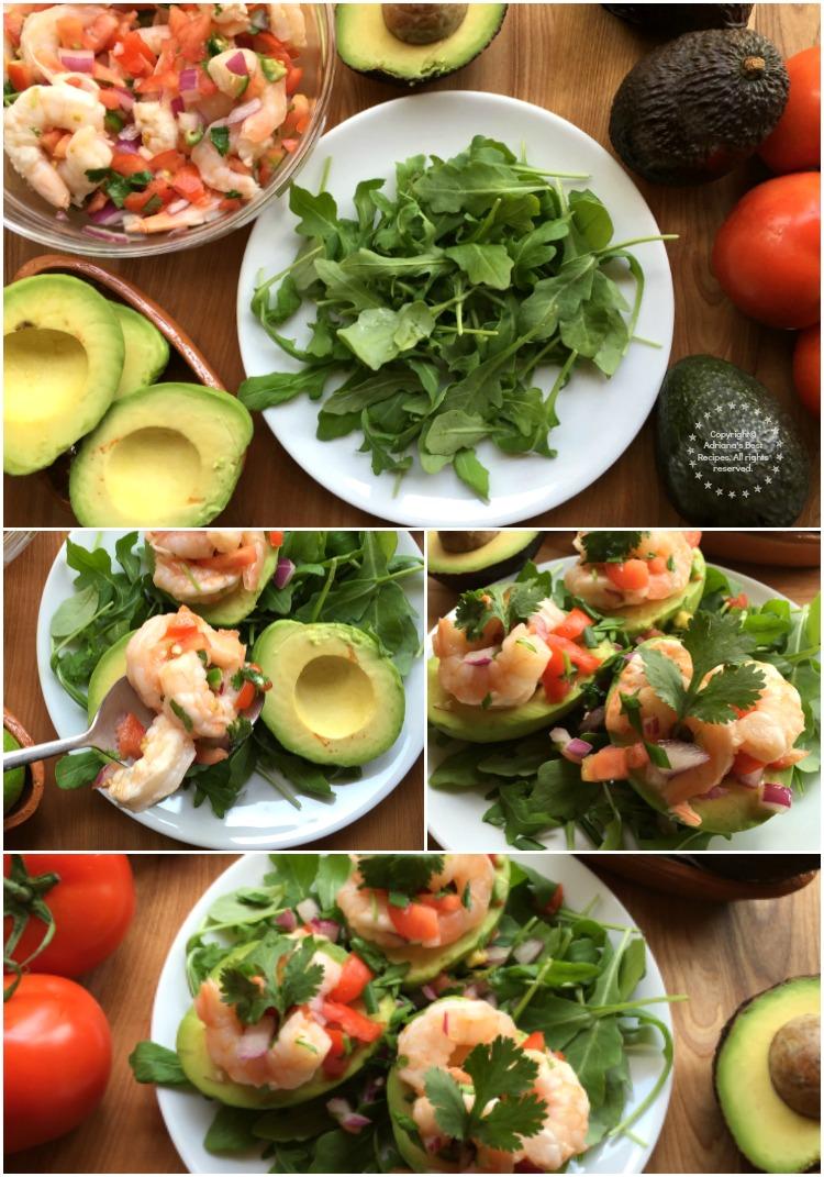 Preparing the Aguacates Stuffed with Shrimp Salad
