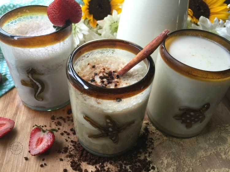 Three Mexican Milk drinks inspired in my culture, all made with wholesome ingredients and an eight ounce glass of milk per serving