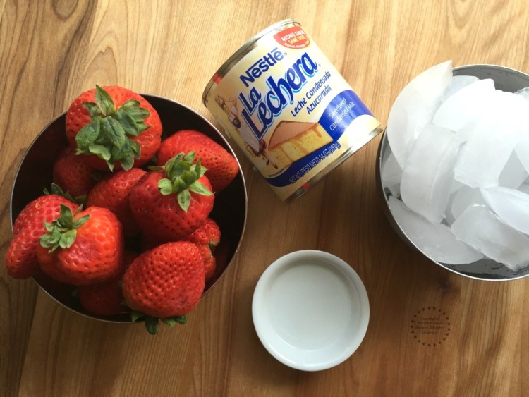 Ingredients for making an easy Strawberry Horchata recipe