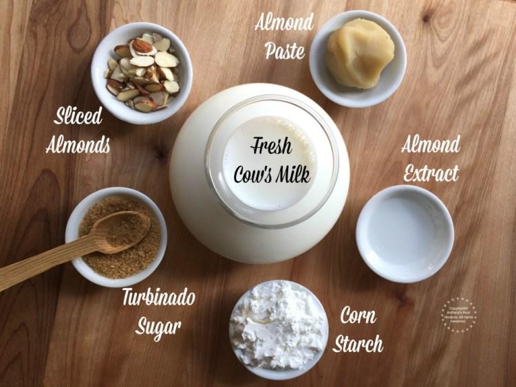 Ingredientes para preparar el delicioso atole de almendras