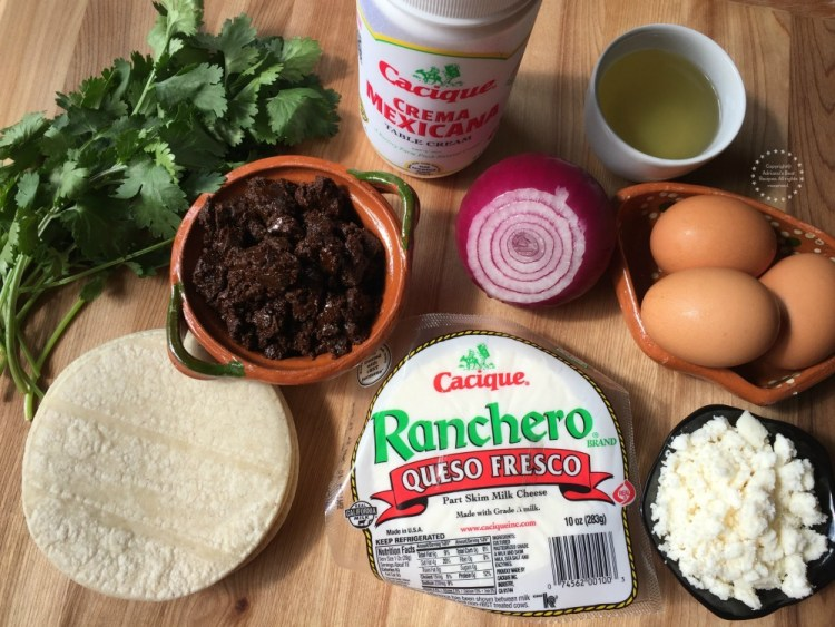 Ingredients for making the mole chilaquiles