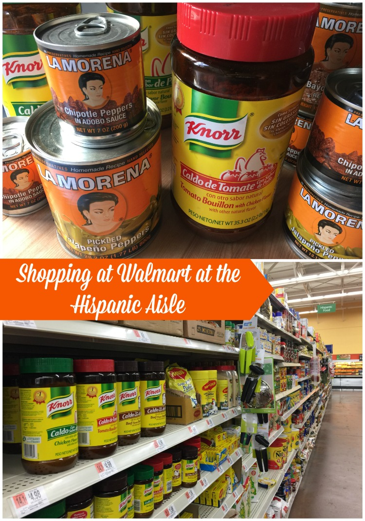 Shopping at Walmart at the Hispanic aisle for all my favorite products
