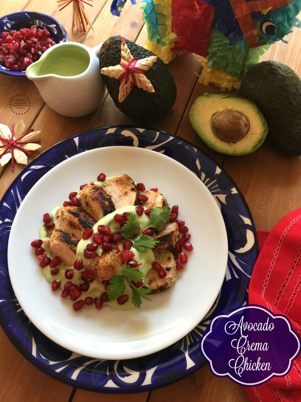 Avocado Crema Chicken with Pomegranate Jewels for our upcoming posada party