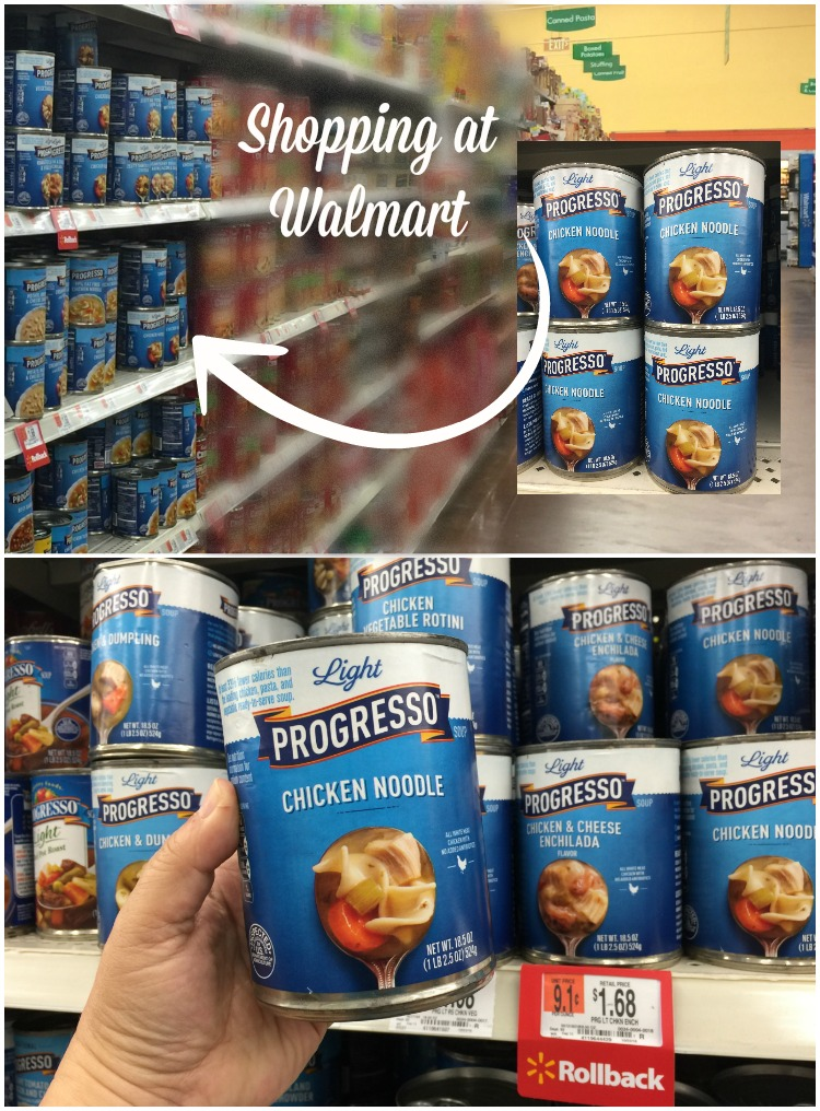 Shopping at Walmart for Progresso Light Chicken Noodle soup