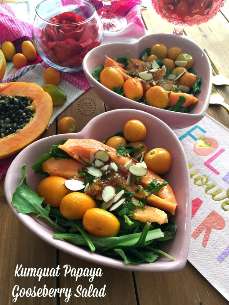 Kumquat Papaya Gooseberry Salad with Citrus Honeycomb Dressing