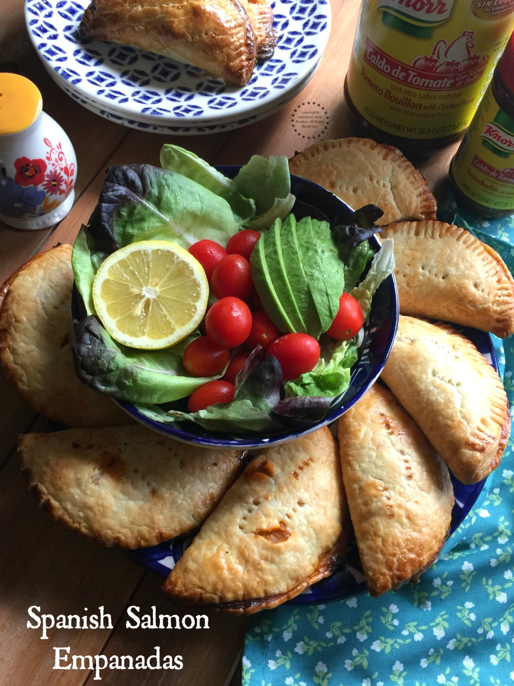 Spanish Salmon Empanadas made with canned salmon, Spanish ingredients and Seasoned with Knorr Tomato Bouillon with Chicken Flavor