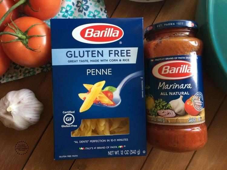 Barilla Gluten Free Pasta and Barilla Marinara Sauce