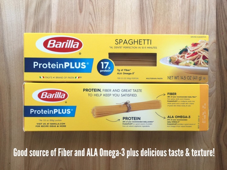 Barilla ProteinPLUS Pasta Good source of Fiber and ALA Omega plus delicious taste and texture