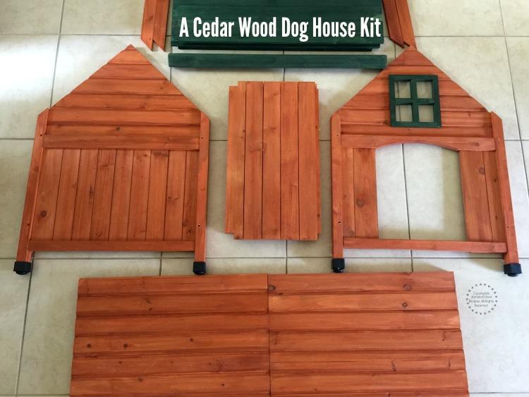 A cedar wood dog house kit