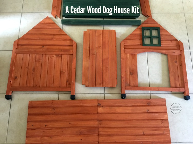 A cedar wood dog house kit is necessary for this DIY project