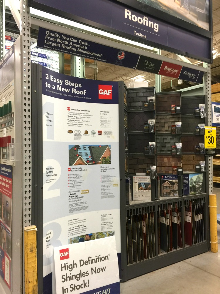 GAF display at Lowes