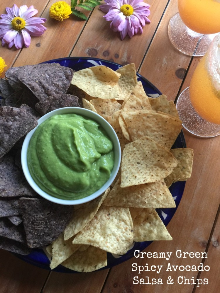 Creamy Green Spicy Avocado Salsa and Chips