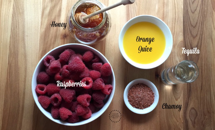 Ingredients for the Frozen Raspberry Chamoy Margarita