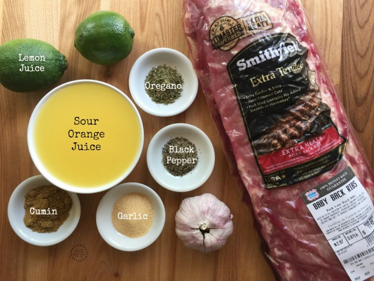 Ingredients for the Grilled Cuban Style Pork Ribs