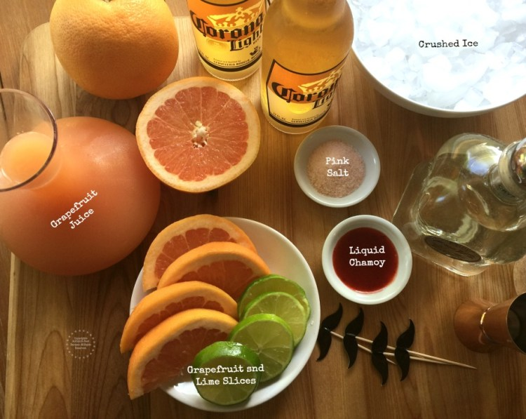 Ingredients for the Mexican Beer Paloma Cocktail