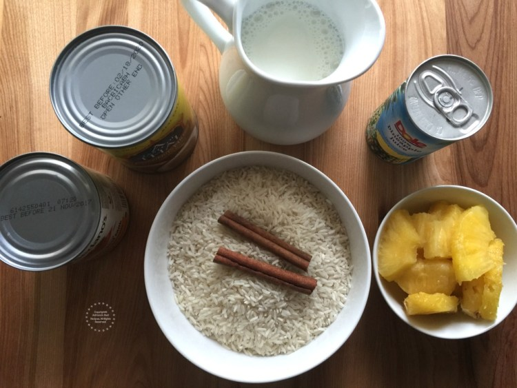 Ingredients for the Pineapple Coconut Rice Pudding