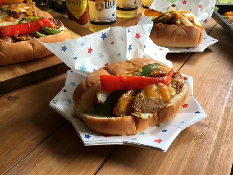 Patriotic Chicken Fajita Hot Dogs