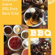 Showcasing the ingredients and final presentation for the sweet and spicy BBQ pork back ribs