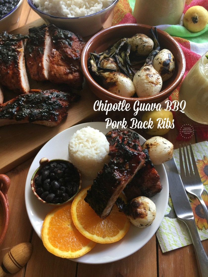 A tablescape showcasing a complete meal with chipotle guava pork back ribs