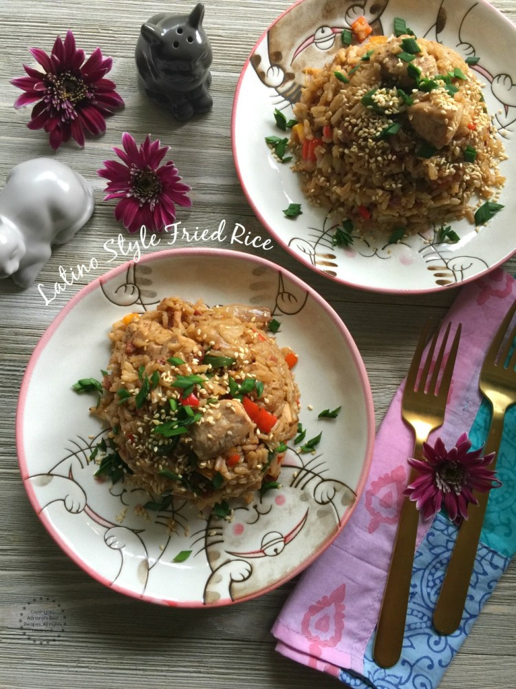 The Latino Style Fried Rice is perfect to repurpose leftover white rice from the prior day. We are adding bacon and serranos for a Latin Mexican twist
