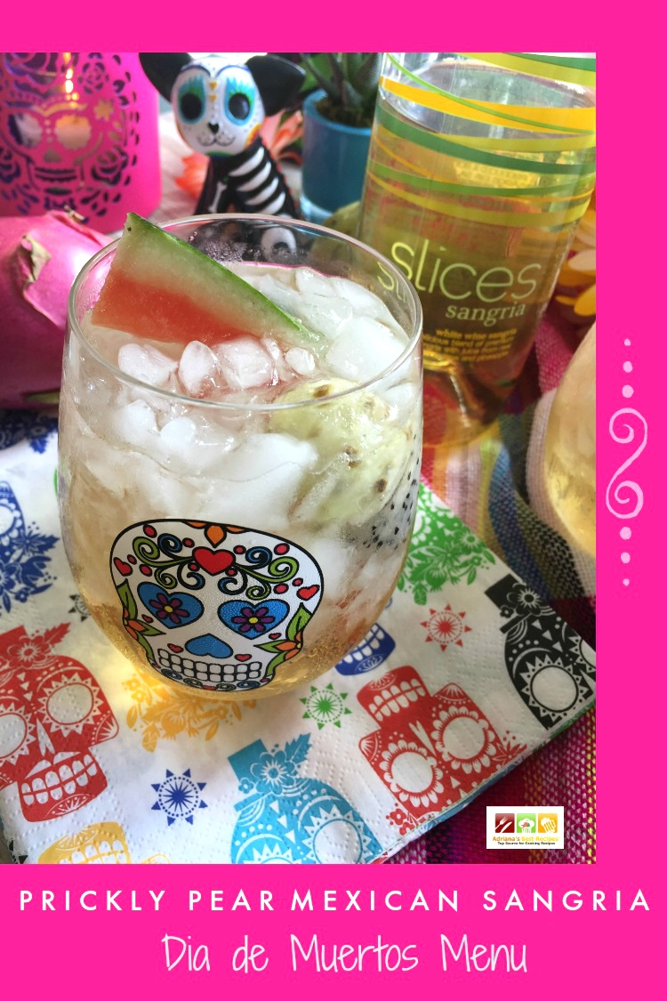 Prickly Pear Mexican Sangria made with Slices White Wine Sangria, prickly pear, watermelon and dragon fruit