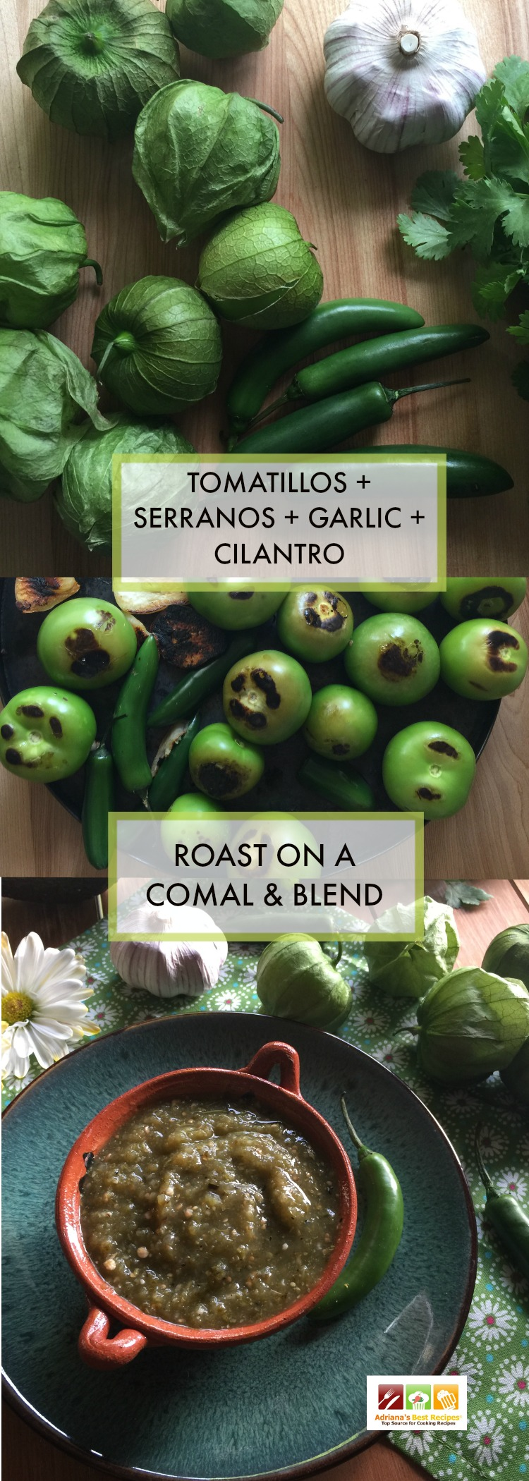 The roasted tomatillo salsa verde is a staple of my Mexican cuisine. Made with green tomatillos, serranos, garlic, and cilantro.
