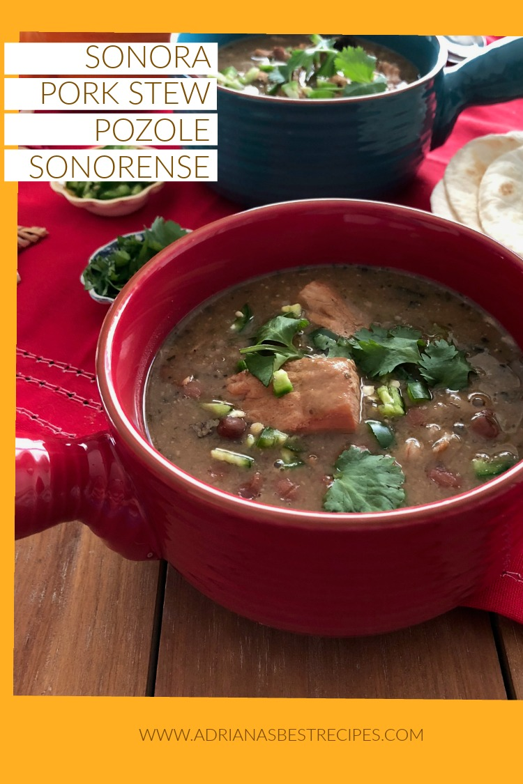 Sonora Pork Stew or Pozole Sonorense made with fresh pork loin, pinto beans and wheat