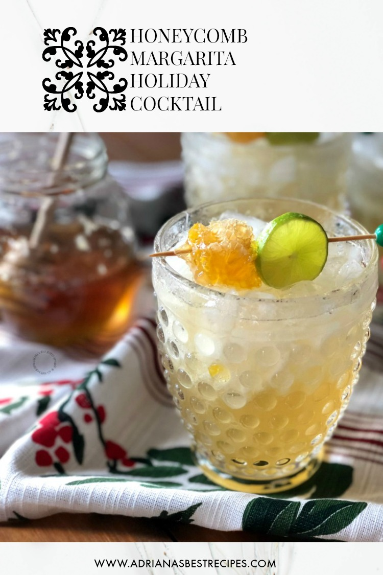 This honeycomb margarita has fresh key lime juice, tequila blanco, orange liqueur and a syrup made with Don Victor® Honey and the edible honeycomb
