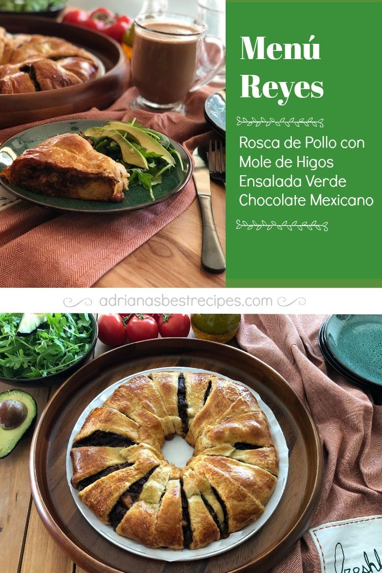 La rosca de pollo con mole de higos está hecha con masa de pan de cuernitos