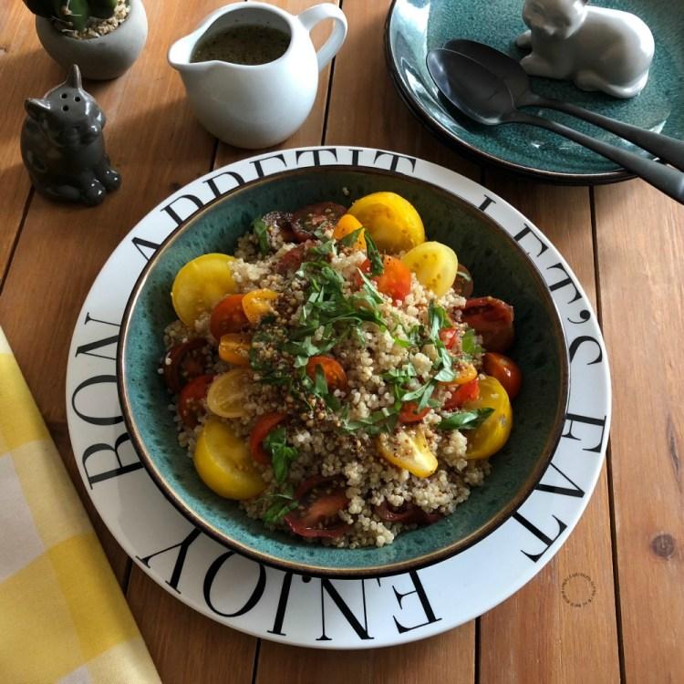 A wholesome side dish for Lent Italian Warm Basil Tomato Quinoa Salad