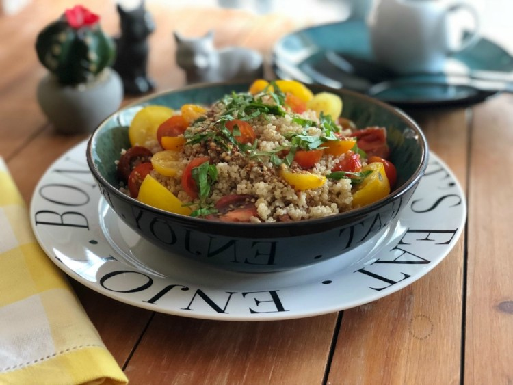 Italian Warm Basil Tomato Quinoa Salad