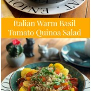 An Italian warm basil tomato quinoa salad drizzled with a mustard seed vinaigrette