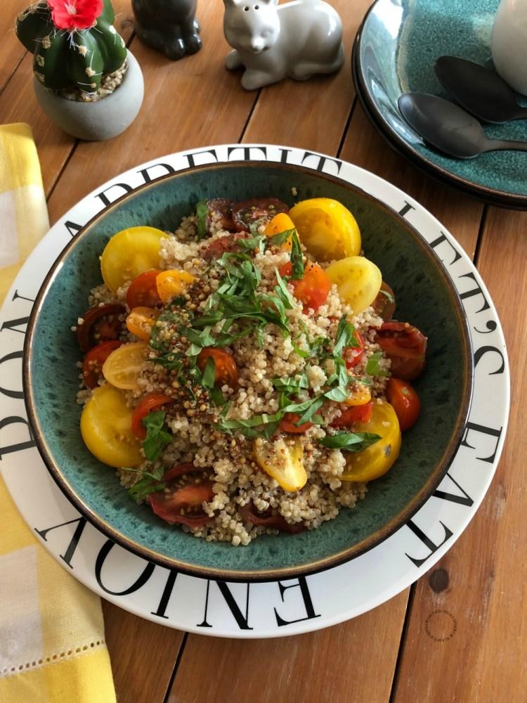 An Italian warm basil tomato quinoa salad ready in just few minutes