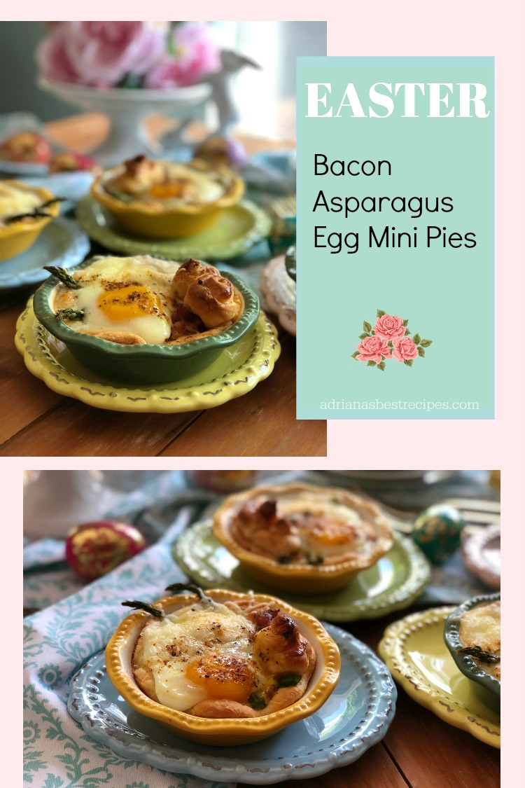 Thebacon asparagus egg mini pies are made with Pillsbury™ Refrigerated Original Crescent Rolls, smoked crispy bacon slightly peppered, roasted asparagus, fresh farm eggs and shredded gruyere cheese
