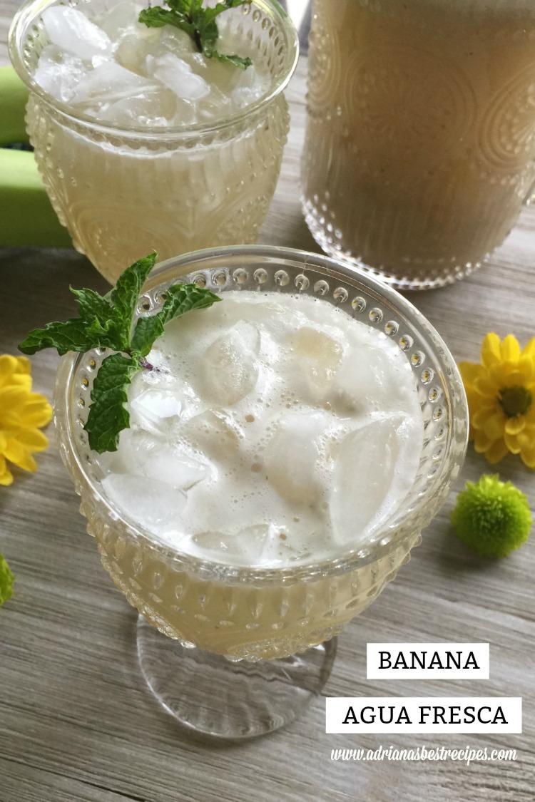 Refreshing and sweet banana agua fresca made with ripen bananas, turbinado sugar, fresh mint and purified water
