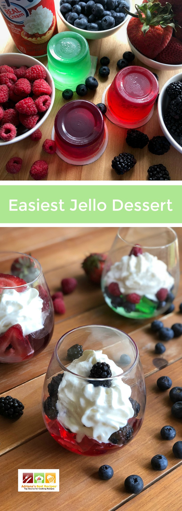 This is the easiest Jello Dessert ever. Made with ready to use jello, whipped cream and seasonal fruits. You can choose any flavors and adapt depending your tastebuds.