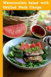 Extremely flavorful watermelon salad with grilled pork chops for your weekly summer menu