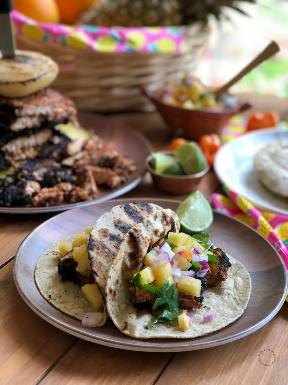 Pairing the pork tacos al pastor with habanero pineapple salsa
