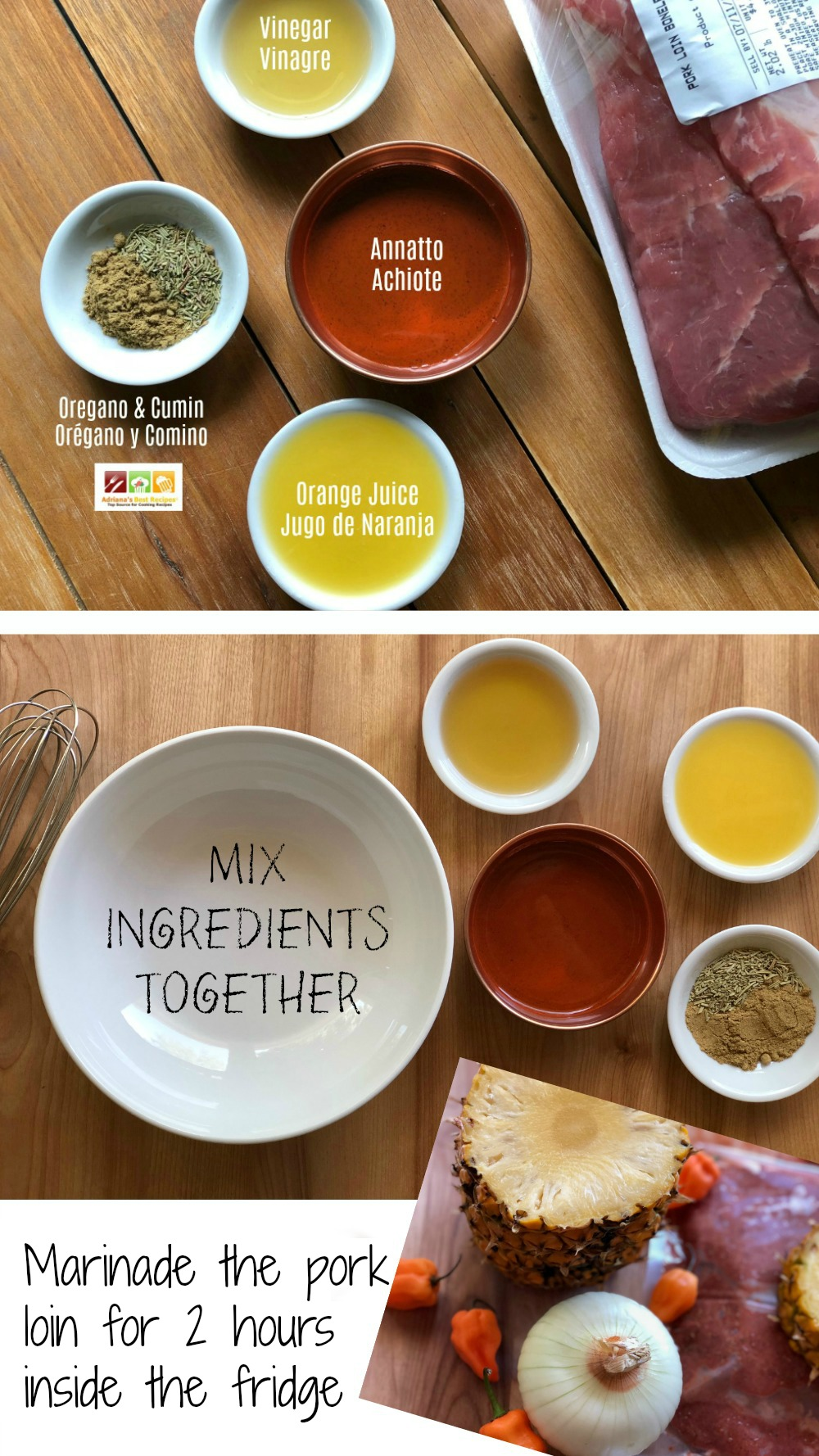 Steps for making the marinade for the pork tacos al pastor