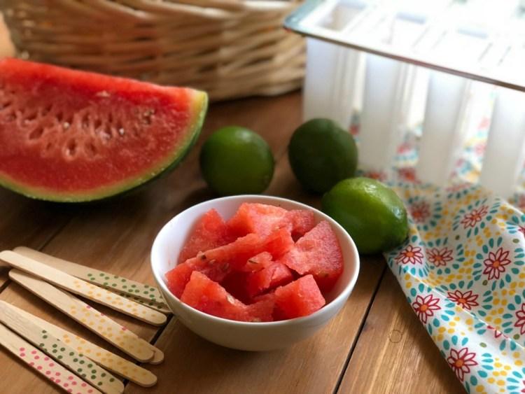 The watermelon lemonade ice pops recipe only needs 4 ingredients