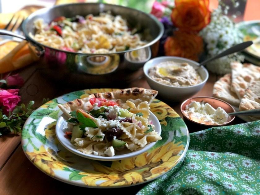 Farfalle Pasta Salad Greek Style for Family Dinner