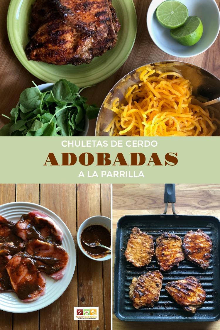 Incluye las chuletas de cerdo adobadas a la parrilla en tu menu semanal