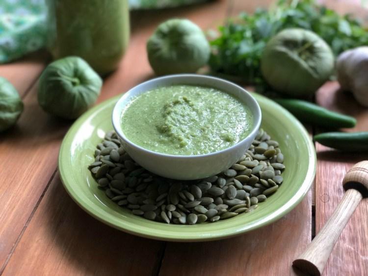 Authentic green pepita sauce