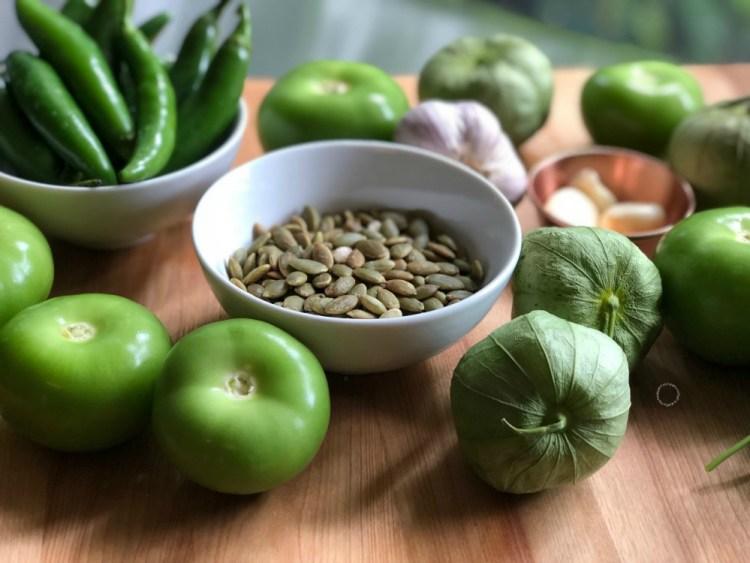 Ingredientes para la salsa verde de pepitas