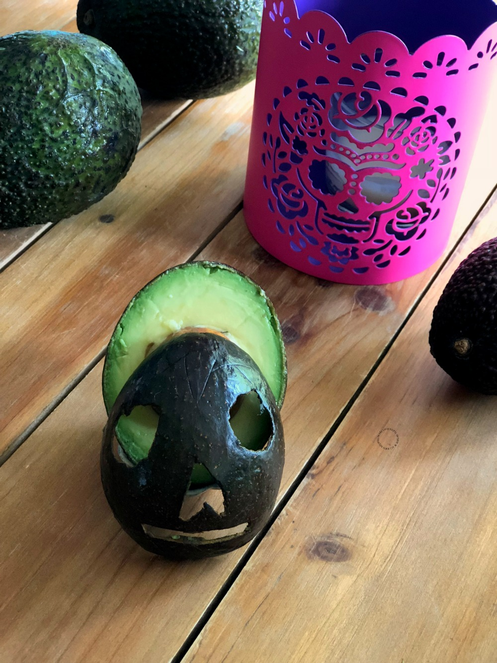 Choose a firm avocado for making the avocado skull