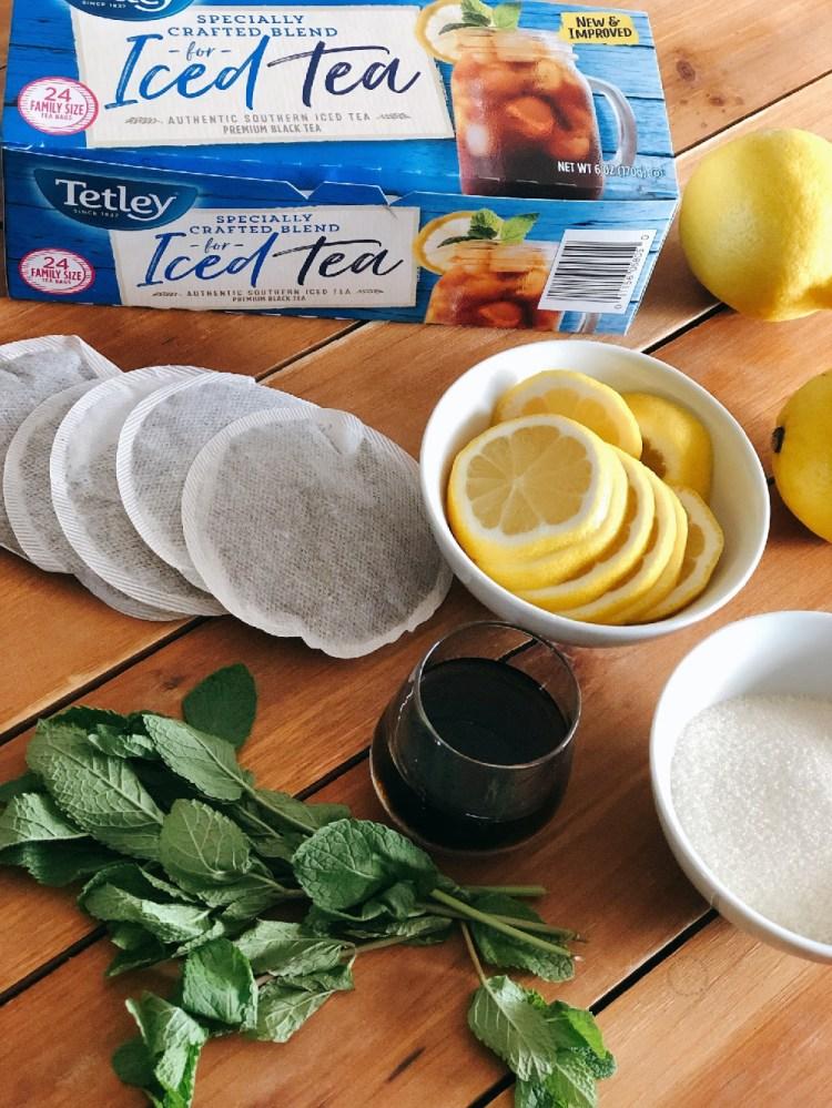 Ingredientes para el te negro helado con menta