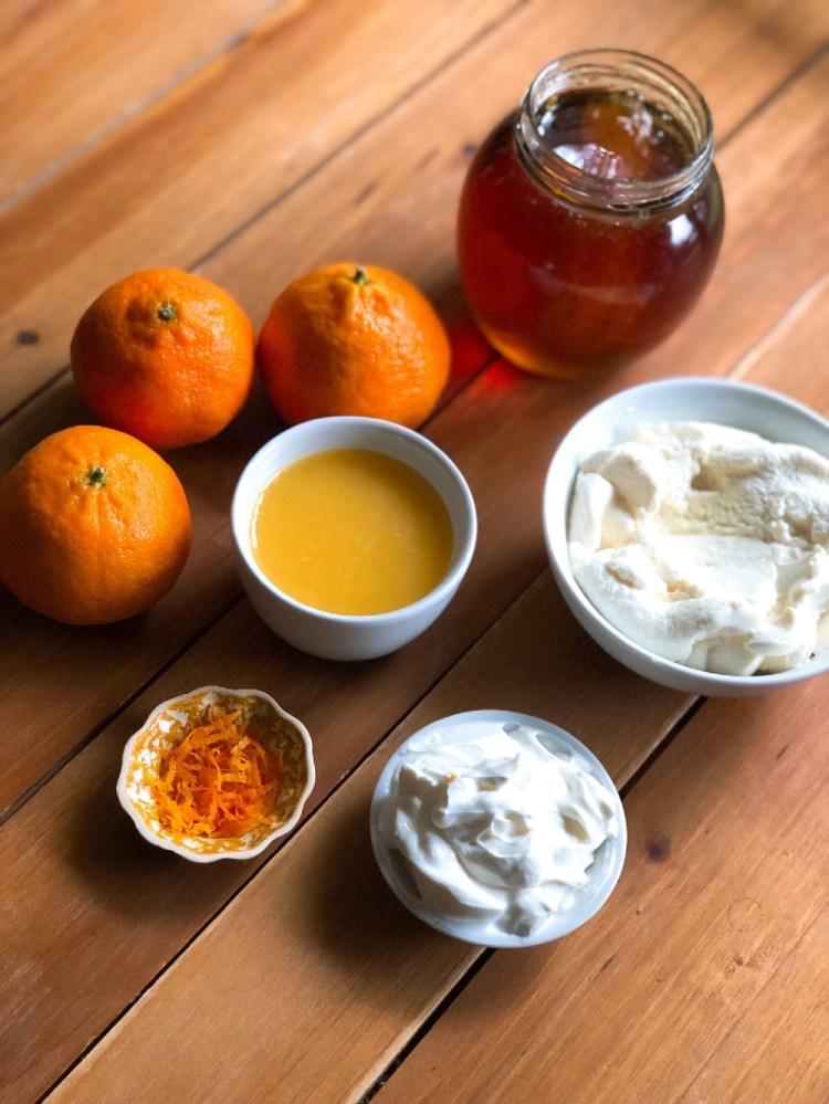 Ingredientes para hacer el dip de ricotta y clementinas