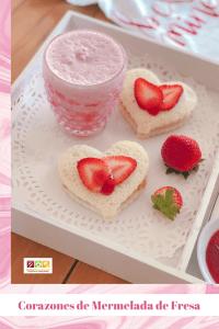 Corazones de mermelada de fresa para san valentin