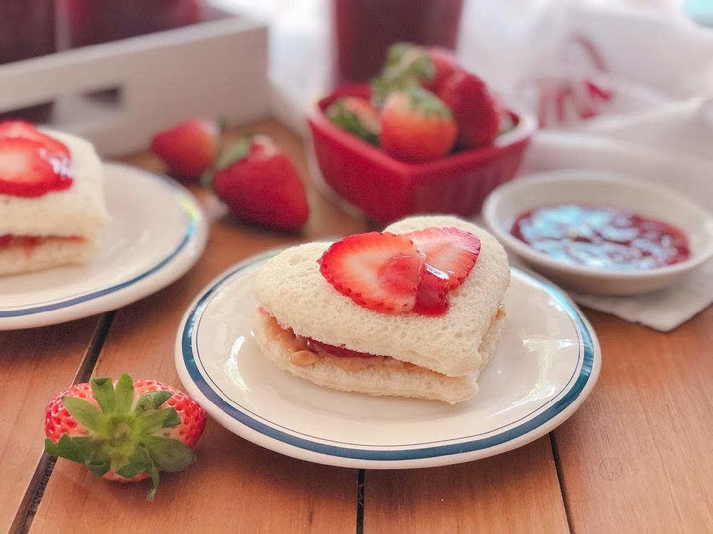 Strawberry Jam Heart Sandwiches